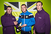 Match sponsors with man of the match Forest Green Rovers Lee Collins(5) during the EFL Sky Bet League 2 match between Forest Green Rovers and Port Vale at the New Lawn, Forest Green, United Kingdom on 6 January 2018. Photo by Shane Healey.