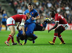 Mathieu Bastareaud of France goes head first in to the ground after being tackled  - Mandatory byline: Joe Meredith/JMP - 07966386802 - 01/10/2015 - Rugby Union, World Cup - Stadium:MK -Milton Keynes,England - France v Canada - Rugby World Cup 2015