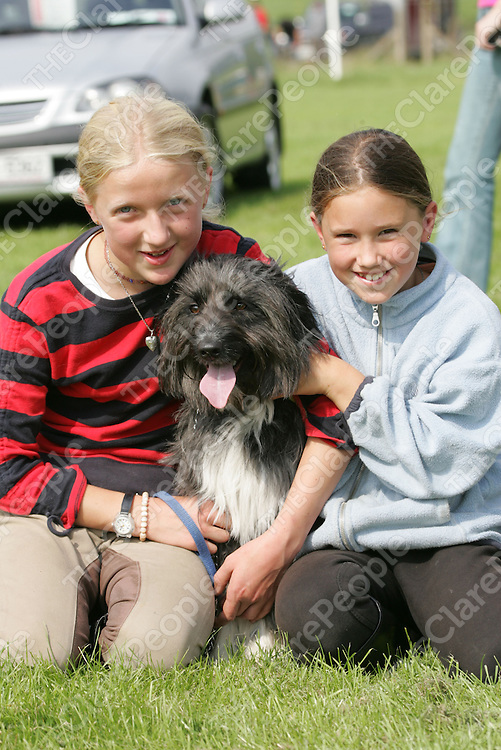 Shuna Adriaanse, Scarriff and Roisin Castles from Bodyke pictured withe Judy the Dog at the Scarriff Agriculture Show in Scarriff Co. Clare.<br /> Pic.Brian Gavin/Press 22