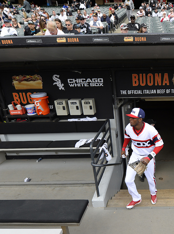 CHICAGO - APRIL 09:  Tim Anderson #7 of the Chicago White Sox looks on from the dugout prior to the game against the Minnesota Twins on April 9, 2017 at Guaranteed Rate Field in Chicago, Illinois.  (Photo by Ron Vesely)   Subject:  Tim Anderson