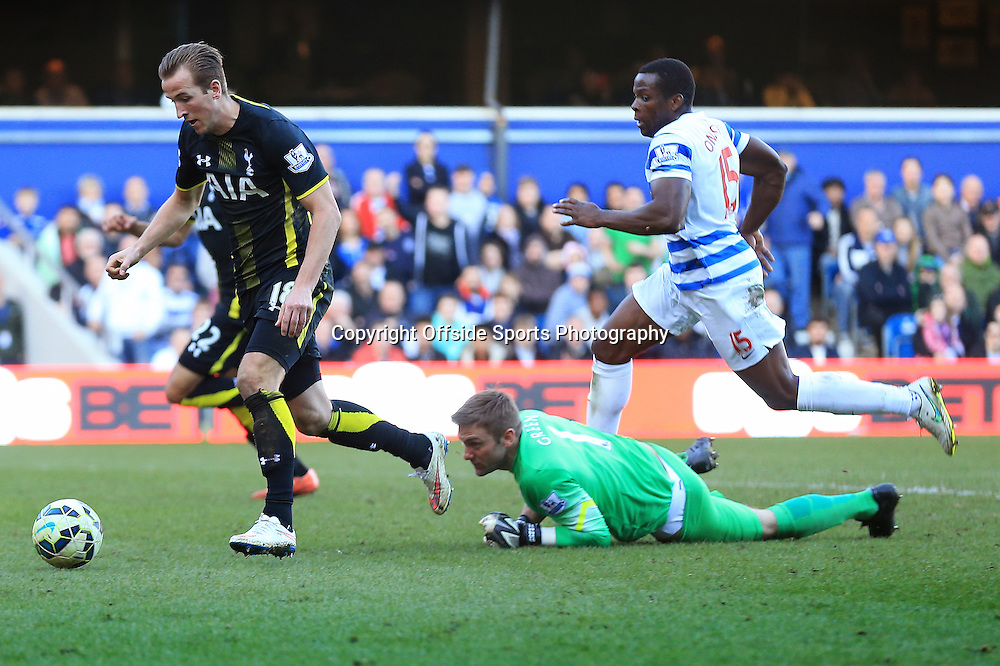 7 March 2015 - Barclays Premier League - QPR v Tottenham Hotspur - Harry Kane of Tottenham Hotspur rounds Robert Green of QPR to score his 2nd goal - Photo: Marc Atkins / Offside.