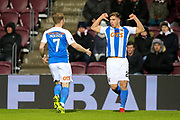 Eamonn Brophy (#25) of Kilmarnock celebrates Kilmarnock's first goal (0-1) during the Ladbrokes Scottish Premiership match between Heart of Midlothian and Kilmarnock at Tynecastle Stadium, Gorgie, Scotland on 27 February 2018. Picture by Craig Doyle.