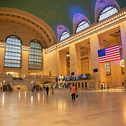 Grand Central Station remains virtually empty due to the Coronavirus (Covid-19) outbreak in New York City, New York on Friday, May 8, 2020.  (Alex Menendez via AP)