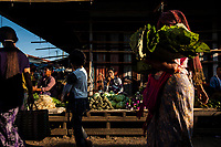 A seller at a market near Inle Lake in Myanmar.