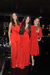 Left to right, JO RENWICK, MELISSA DAVIES and CHARLOTTE STRODL at the launch of Beulah's collaboration with Hennessy Gold Cup and a preview of the SS13 Collection held at The Brompton Club, 92b Old Brompton Road, London SW7 on 18th October 2012.