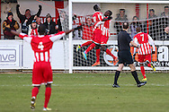 David Moyo of Brackley Town (3rd left) celebrates scoring his team's second goal against Lowestoft Town to make it 2-0 with Greg Kaziboni of Brackley Town (2nd left) during the Conference North match at St. James Park, Brackley<br /> Picture by David Horn/Focus Images Ltd +44 7545 970036<br /> 24/01/2015