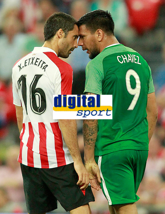 Athletic Club de Bilbao's Xavier Etxeita (l) and Panathinaikos FC's Andres Eliseo Chavez have words during Europa League Play-off, 2nd leg. August 24,2017. (ALTERPHOTOS/Acero)