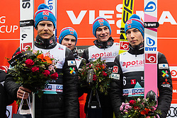 March 9, 2019 - Oslo, NORWAY - 190309 Team Norway celebrate after winning men's team competition during the FIS Ski-Jumping World Cup on March 9, 2019 in Oslo..Photo: Fredrik Varfjell / BILDBYRÃ…N / kod FV / 150213 (Credit Image: © Fredrik Varfjell/Bildbyran via ZUMA Press)