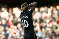 Tammy Abraham of Swansea City is dejected after his goal is ruled out for offside. Premier league match, Arsenal v Swansea city at the Emirates Stadium in London on Saturday 28th October 2017.<br /> pic by Steffan Bowen, Andrew Orchard sports photography.
