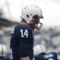 Quarterback Christian Hackenberg #14 of the Penn State Nittany Lions walks on the field during warm ups prior to a game against the Illinois Fighting Illini on November 2, 2013 at Beaver Stadium in University Park, Pennsylvania.