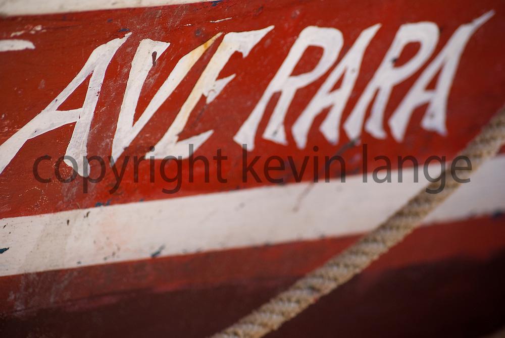 detail of boat side red in buzios, rio de janeiro, brazil