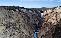 Lower Yellowstone Falls in Yellowstone National Park plunge 308 feet along the Yellowstone River. The falls descend from a nearly 600,000 year old lava flow called the Canyon Rhyolite lava flow.