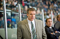KELOWNA, CANADA, NOVEMBER 30: Jim Hiller head coach of the Tri City Americans stands on the bench as the Tri City Americans visit the Kelowna Rockets  on November 30, 2011 at Prospera Place in Kelowna, British Columbia, Canada (Photo by Marissa Baecker/Shoot the Breeze) *** Local Caption *** Jim Hiller;
