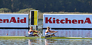 Varese,  ITALY. 2012 FISA European Championships, Lake Varese Regatta Course. ..Women's Pair, Repechage. GBR W2- Bow. Caragh MCMURTRY and Olivia CARNRGIE-BROWN, winning to go through to Sundays Final...09:35:34  Saturday  15/09/2012 .....[Mandatory Credit Peter Spurrier:  Intersport Images]  ..2012 European Rowing Championships Rowing, European,  2012 010827.jpg.....