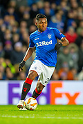 Alfredo Morelos (#20) of Rangers FC during the Europa League group stage match between Rangers FC and Villareal CF at Ibrox, Glasgow, Scotland on 29 November 2018.