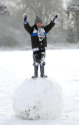 (c) London News Pictures 29/11/2010.A boy enjoys an enexpected day off school in Harrogate, North Yorkshire. Parental consent given but name witheld. Sam Atkins/London News Pictures