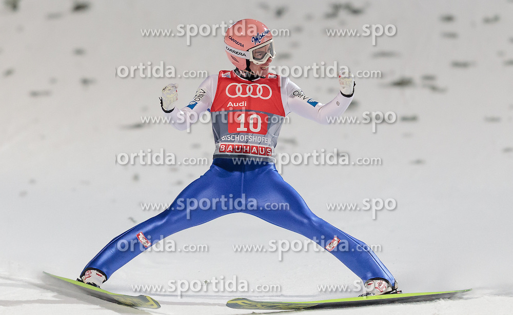 06.01.2016, Paul Ausserleitner Schanze, Bischofshofen, AUT, FIS Weltcup Ski Sprung, Vierschanzentournee, Bischofshofen, Finale, im Bild Stefan Kraft (AUT) // Stefan Kraft of Austria reacts after his 1st round jump of the Four Hills Tournament of FIS Ski Jumping World Cup at the Paul Ausserleitner Schanze in Bischofshofen, Austria on 2016/01/06. EXPA Pictures © 2016, PhotoCredit: EXPA/ JFK