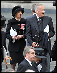 Jeffery and Mary Archer attend Lady Thatcher's funeral at St Paul's Cathedral following her death last week, London, UK, Wednesday 17 April, 2013, Photo by: Andrew Parsons / i-Images