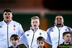 James Scott, Ollie Fox and Kai Owen of England U20 - Mandatory by-line: Robbie Stephenson/JMP - 15/03/2019 - RUGBY - Franklin's Gardens - Northampton, England - England U20 v Scotland U20 - Six Nations U20