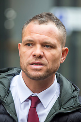 © Licensed to London News Pictures. 05/04/2019. Leeds, UK. Phil Hoban, leader of Paedophile hunting group Predator Exposure arriving at Leeds Crown Court this morning. Hoban is charged with false imprisonment & using abusive, threatening or insulting words to cause harassment, alarm or distress in connection with alleged offences against Nicholas Passmore in 2018. Hoban is also charged with a second count of false imprisonment in connection with alleged offences against Dean Kitson in 2019. Photo credit: Andrew McCaren/LNP