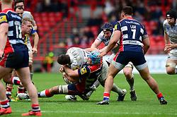 Jordan Crane (c) of Bristol Rugby tackles Guy Mercer of Bath Rugby - Mandatory by-line: Dougie Allward/JMP - 26/02/2017 - RUGBY - Ashton Gate - Bristol, England - Bristol Rugby v Bath Rugby - Aviva Premiership