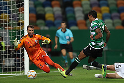 September 20, 2018 - Lisbon, Portugal - Sporting's forward Raphinha from Brazil shoots to score during the UEFA Europa League Group E football match Sporting CP vs Qarabag at Alvalade stadium in Lisbon, on September 20, 2018. (Credit Image: © Pedro Fiuza/NurPhoto/ZUMA Press)