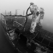 INDONESIA. Kubu, Bali. June 20th, 2013. The Kubu wreck was sunk in 2012 and is accessible off the beach, located roughly 100-meters offshore and is approximately 60-meters in length.
