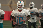 Miami Dolphins wide receiver Kenny Stills (10) warms up at indoor practice during training camp at the Baptist Health Training Facility at Nova Southeastern University, Friday, August 2, 2019, in Davie, Fla. (Kim Hukari/Image of Sport)