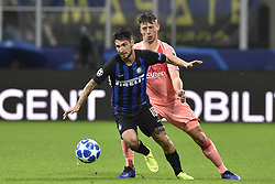 November 6, 2018 - Milan, Milan, Italy - Clément Lenglet of Barcelona  is challenged by Matteo Politano of Inter Milan during the UEFA Champions League Group Stage match between Inter Milan and Barcelona at Stadio San Siro, Milan, Italy on 6 November 2018. Photo by Giuseppe Maffia. (Credit Image: © AFP7 via ZUMA Wire)