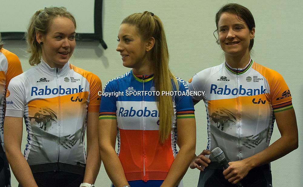 PAPENDAL (NED) wielrennen<br />Het Rabobank-Liv vrouwenteam en het Developmentteam werden op Papendal voorgesteld. Anna van der Breggen, Pauline Ferrand Prevot, Marianne Vos