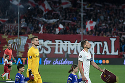 December 13, 2018 - Seville, Andalucia, Spain - Sergio Escudero and Vaclik of Sevilla FC during the Europa League match between Sevilla FC and Krasnodar in Ramón Sánchez Pizjuán Stadium (Seville) (Credit Image: © Javier MontañO/Pacific Press via ZUMA Wire)