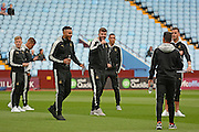 Newcastle players inspecting the pitch during the EFL Sky Bet Championship match between Aston Villa and Newcastle United at Villa Park, Birmingham, England on 24 September 2016. Photo by Alan Franklin.