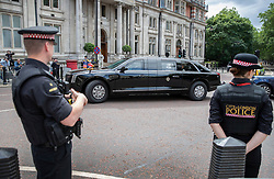 © Licensed to London News Pictures. 03/06/2019. London, UK. US President Donald Trump and First Lady Melania Trump head for Westminster Abbey inside the presidential limousine known at The Beast in central London during his State Visit to the United Kingdom. During his three days in the UK he will meet with members of the Royal family and outgoing Prime Minister Theresa May before attending 75th Anniversary of D-Day commemorations in Portsmouth and France. Photo credit: Peter Macdiarmid/LNP