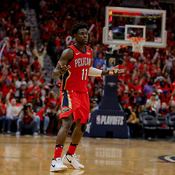 Apr 21, 2018; New Orleans, LA, USA; New Orleans Pelicans guard Jrue Holiday (11) reacts after a three point shot in the final minute during the fourth quarter in game four of the first round of the 2018 NBA Playoffs against the Portland Trail Blazers at the Smoothie King Center.  Pelicans defeated the Trail Blazers 131-123 sweeping the series and advancing to the western conference semi-finals.  Mandatory Credit: Derick E. Hingle-USA TODAY Sports