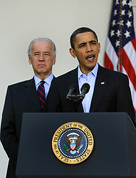 """File photo dated March 7, 2010 of U.S. President Barack Obama makes a statement regarding the Iraqi parliamentary elections, as Vice President Joe Biden listens, in the ose Garden at the White House in Washington, DC, USA, USA. Pool Former President Barack Obama endorsed Joe Biden, his two-term vice president, on Tuesday morning in the race for the White House. """"Choosing Joe to be my vice president was one of the best decisions I ever made, and he became a close friend. And I believe Joe has all the qualities we need in a president right now,"""" Obama said in a video posted to Twitter. Photo by Mike Theiler/ABACAPRESS.COM"""