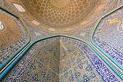 Interior of Dome of Sheikh Lotf Allah Mosque, Naghsh-i Jahan Square, Isfahan, Iran. Built 1603 -1618. Architect: Shaykh Bahai