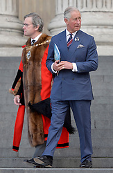 The Lord Mayor of London Jeffrey Mountevans and the Prince of Wales leave after attending a service to commemorate National Police Memorial Day at St Paul's Cathedral in central London.