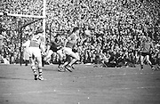 Kerry forward gains possession near Down goalmouth and kicks the ball over for a point during the All Ireland Senior Gaelic Football Final Kerry v Down in Croke Park on the 22nd September 1968. Down 2-12 Kerry 1-13.