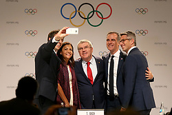 LIMA, Sept. 14, 2017  International Olympic Committee President Thomas Bach (C), Anne Hidalgo (2nd L), Mayor of Paris, Tony Estanguet (1st L), Co-chairman of Paris 2024, Eric Garcetti (2nd R), Mayor of Los Angeles, and Casey Wasserman, the chairman of LA 2028 take selfie after a joint press conference at the 131st IOC session in Lima, Peru, on Sept. 13, 2017. The IOC makes historic decision by simultaneously awarding Olympic Games 2024 to Paris and 2028 to Los Angeles on wednesday. (Credit Image: © Li Ming/Xinhua via ZUMA Wire)