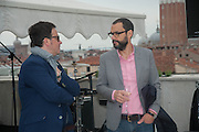 JOHN MELLICK; SAM DURRANT, Absolut Art Bureau cocktails and dinner to celebrate the announcement of the 2013 Absolut Art Award shortlist. Bauer Hotel, San Marco. Venice. Venice Bienalle. 28 May 2013