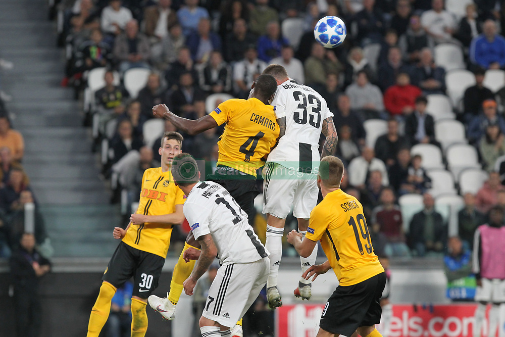 October 2, 2018 - Turin, Piedmont, Italy - Federico Bernardeschi (Juventus FC) and M. Camara (Berner Sport Club Young Boys) competes for the ball during the Juventus FC UEFA Champions League match between Juventus FC and Berner Sport Club Young Boys at Allianz Stadium on October 02, 2018 in Turin, Italy..Juventus won 3-0 over Young Boys. (Credit Image: © Massimiliano Ferraro/NurPhoto/ZUMA Press)