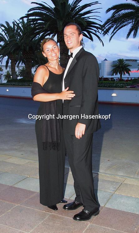 Sport,Tennis,Hopman Cup in Perth,Australien,Mixed<br /> Doubles WM,Xavier Malisse (Bel.) und Katie beim Silvester Ball, 31.12.2001.