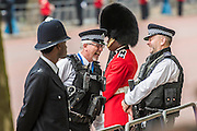Security was tight but good humoured as armed policmen share a joke - Queens 90th birthday was celebrated by the traditional Trooping the Colour as well as a flotilla on the river Thames.