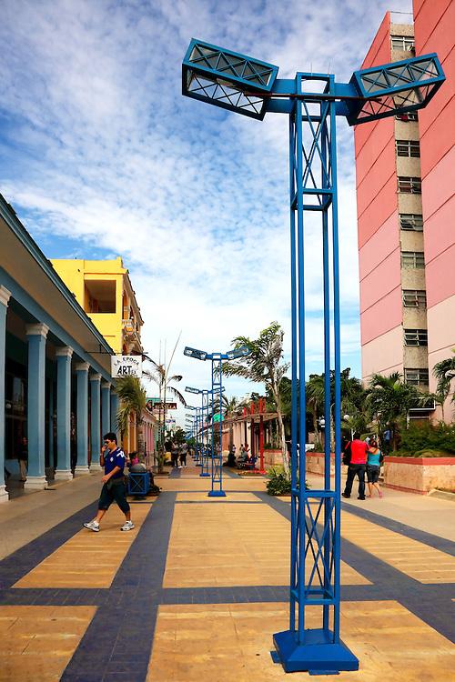 Pedestrian boulevard in Ciego de Avila, Cuba.