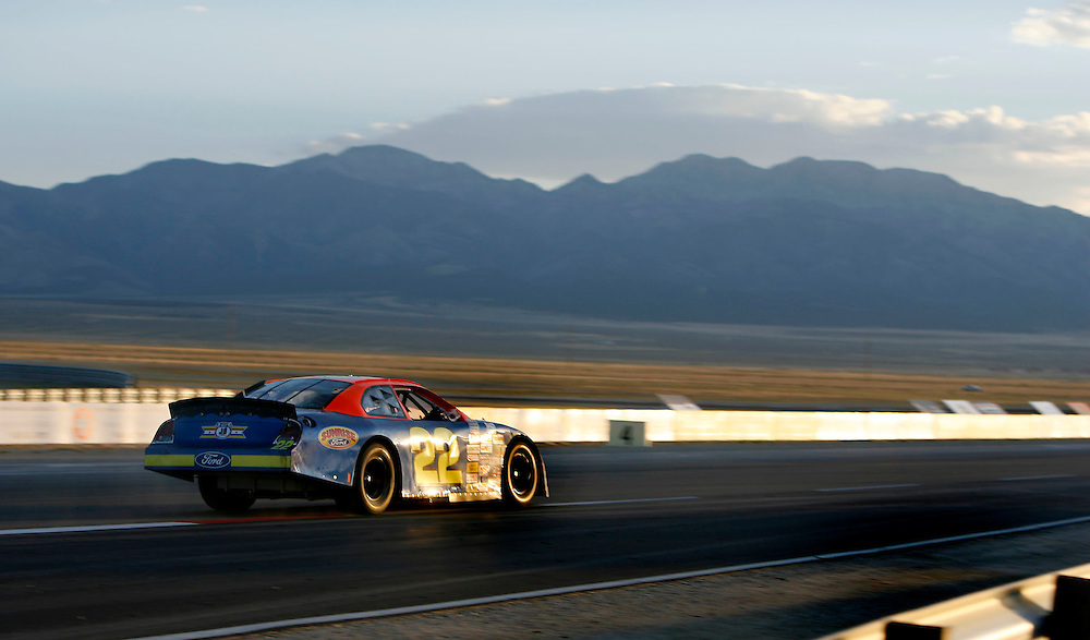 Race winner Jason Bowles driving the Sunrise Ford/Turbo ,  front goes through turn one on the last lap of the first ever Nascar West Series cars race at the Miller Motorsports Park in Tooele, Utah July 14, 2007.  August Miller/ Deseret Morning News