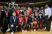 Dallas Kimball poses with their runner-up trophy after losing to Rosenberg Terry in the UIL 4A state championship game at the Frank Erwin Center in Austin on Saturday, March 9, 2013. (Cooper Neill/The Dallas Morning News)