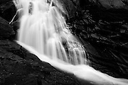 Monochrome landscape of Horsetail Falls along Pyramid Creek in South Lake Tahoe, California.