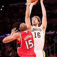 03 November 2013: Los Angeles Lakers power forward Pau Gasol (16) goes for the jumpshot over Atlanta Hawks center Al Horford (15) during the Los Angeles Lakers 105-103 victory over the Atlanta Hawks at the Staples Center, Los Angeles, California, USA.