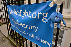 A banner supporting Charlie Gard opposite the entrance to Great Ormond Street Hospital in London, as Charlie's parents are preparing to return to court for a hearing at which the terminally-ill baby's future could be decided.