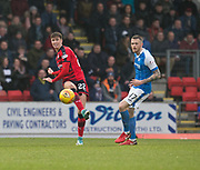 30th December 2017, McDiarmid Park, Perth, Scotland; Scottish Premiership football, St Johnstone versus Dundee; Dundee's Jack Hendry and St Johnstone's Denny Johnstone